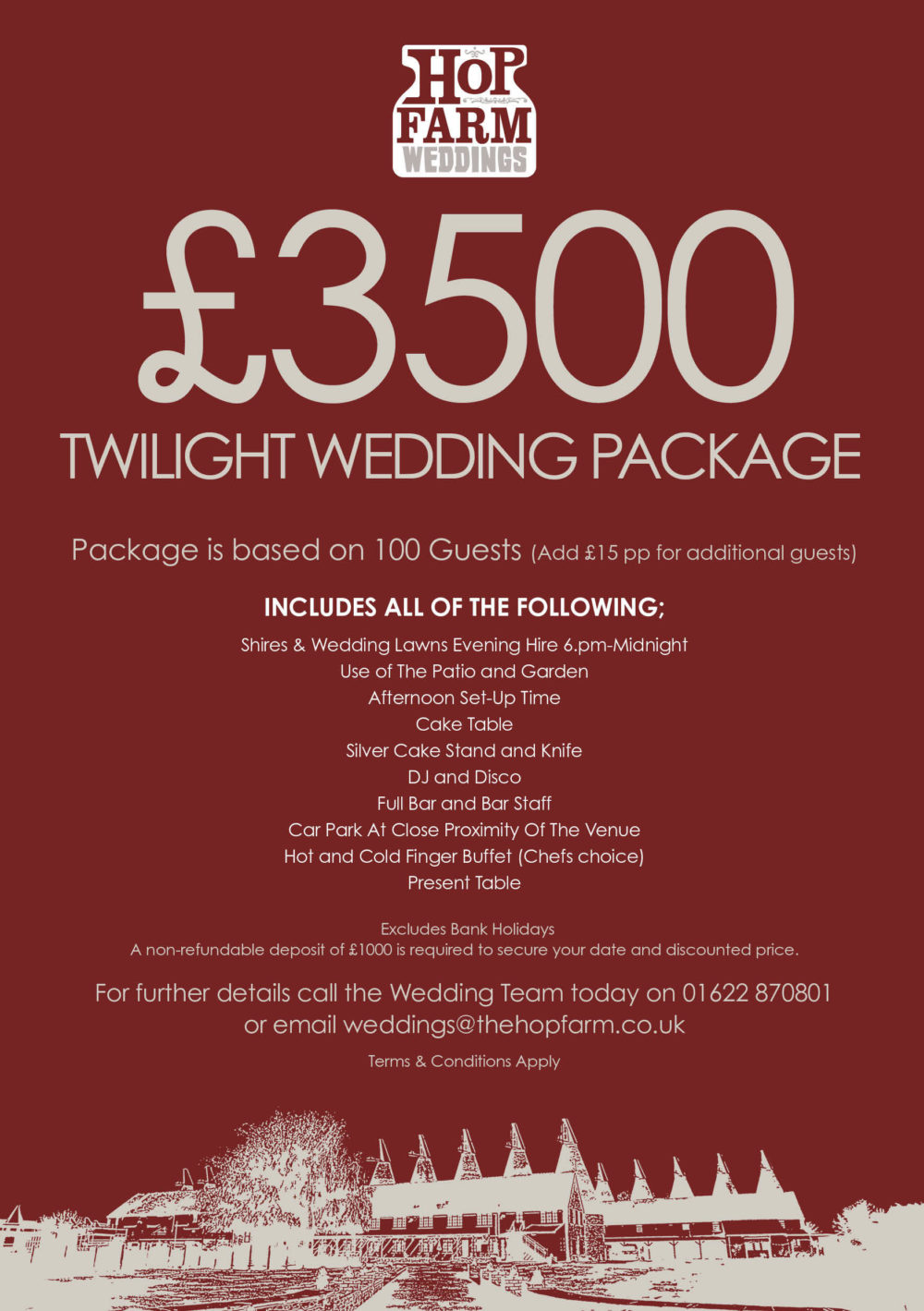 Hop Farm Wedding Twilight Package